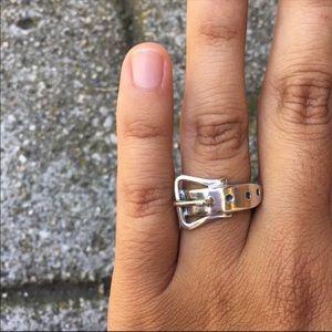 Peruvian Silver Belt Ring